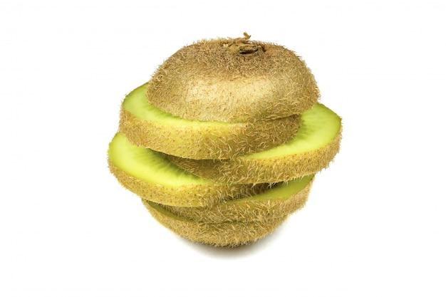 Close up macro kiwi fruit slices cut isolated on white