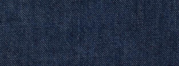 Close up, macro shot of raw denim dark wash indigo blue jeans texture banner background