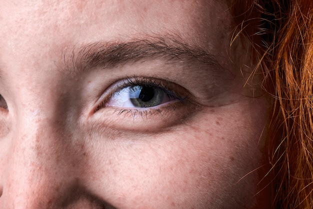 Close up macro shot of a red haired girl eye