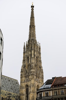 Close-up of the main tower of st. stephen's cathedral in vienna, austria.