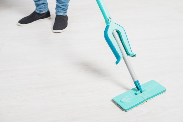 Close up of man cleaning his house