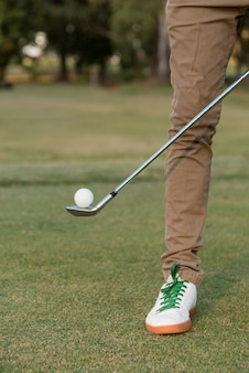 Close-up man on golf course