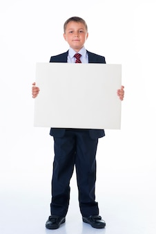 Close up of man hands showing white blank board.
