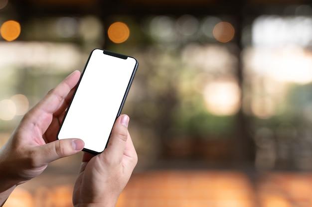 Close up man hands using smartphone