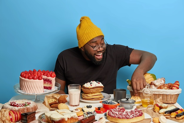 Close up on man having a wholesome sweet meal