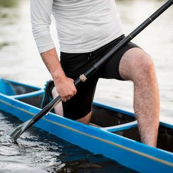 Close-up man in kayak