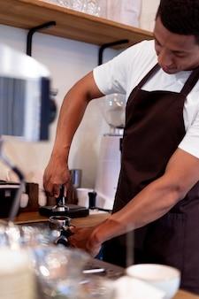 Close up manmaking coffee