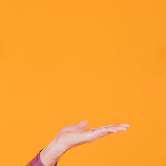 Close-up of man's hand presenting something against an orange backdrop