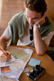 Close up man taking notes