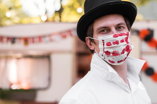 Close-up man wearing mask