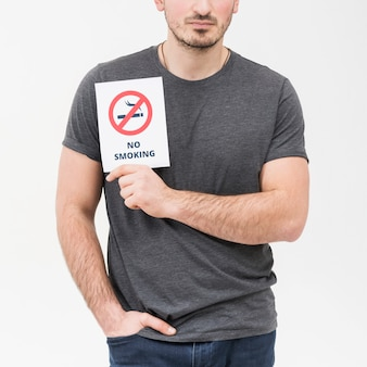 Close-up of a man with hands in his pocket showing no smoking placard against white backdrop