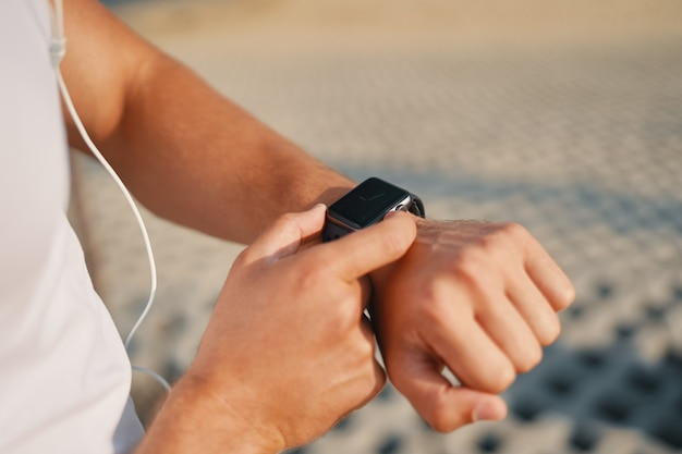 Close up man with smart watch