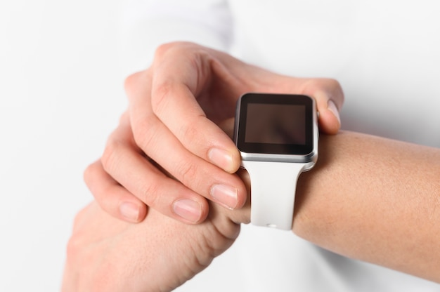 Close-up man with smartwatch