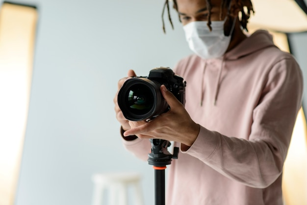 Close-up man with surgical mask