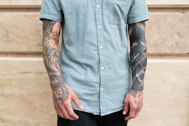 Close up man with tattoos