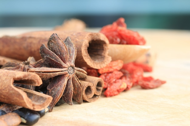 Close up many kind of chinese herb