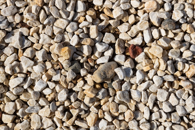 Close-up of many small light rocks on ground