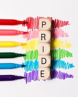 虹色のクローズアップマーカー