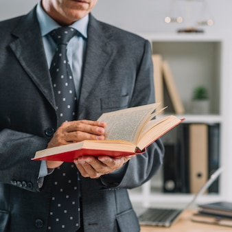 Close-up of mature lawyer reading law book