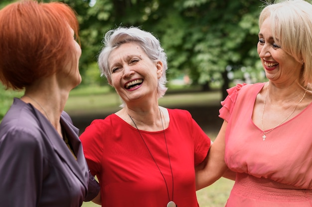Close-up mature women laughing