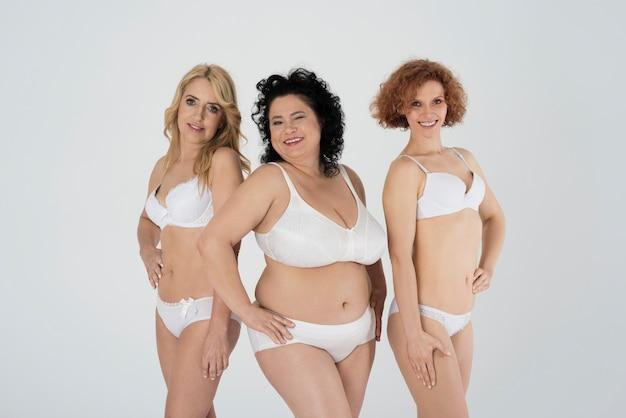 Close up on mature women in underwear