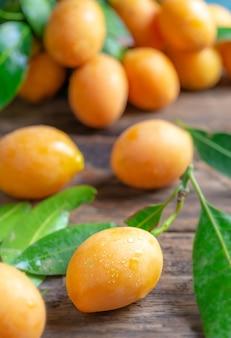 Close up mayongchid maprang marian plum or plum mango