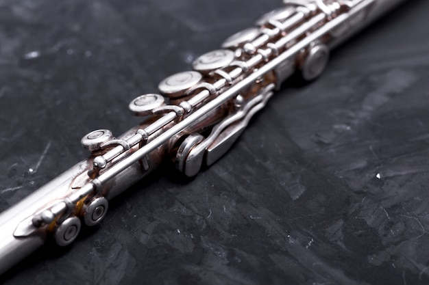 Close up of metal flute