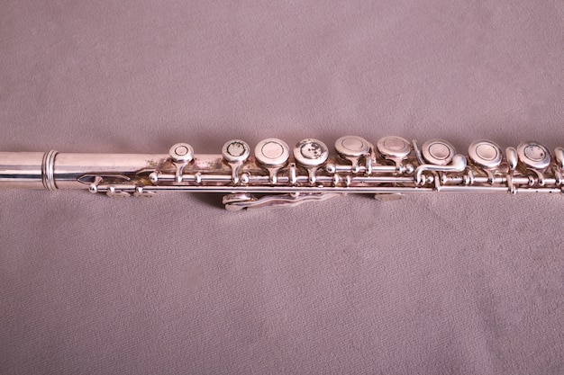 Close up of metal flute