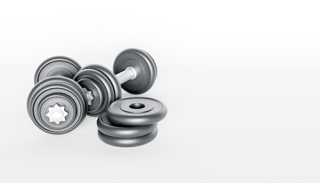Close-up of metal gym dumbbells on white surface