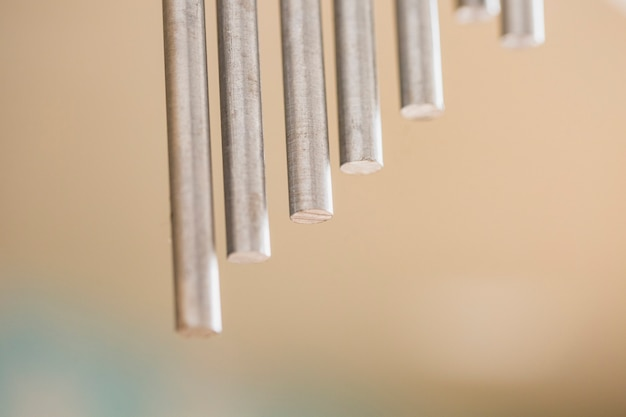 Close-up of metal percussion bars