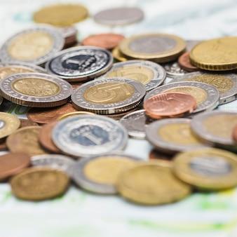 Close-up of metallic coins