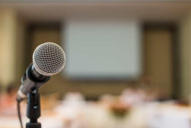 Close up microphone in conference room
