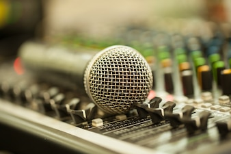 Close up microphone isolated