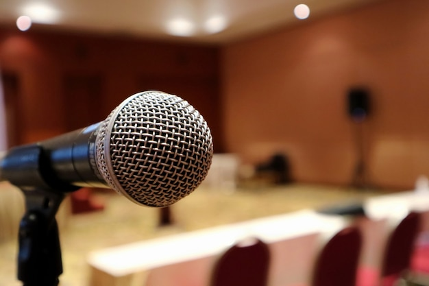 Close up of microphone at the meeting room selective focus business education and technology