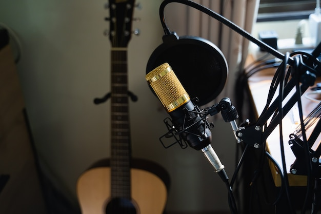 Close up of microphone at music work station, music concept