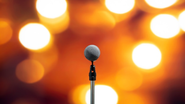 Close-up the microphone on stand for speaker speech.