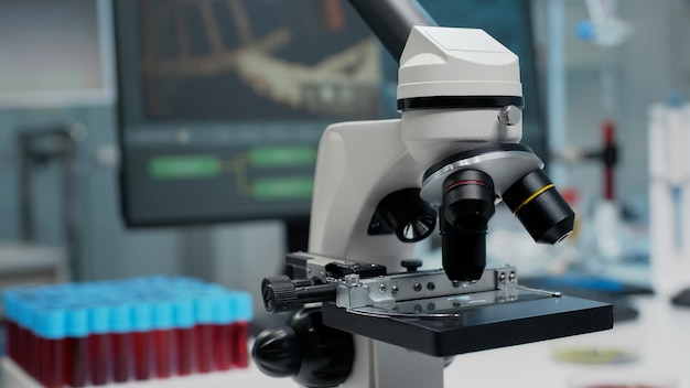 Close up of microscopic glass lens in laboratory