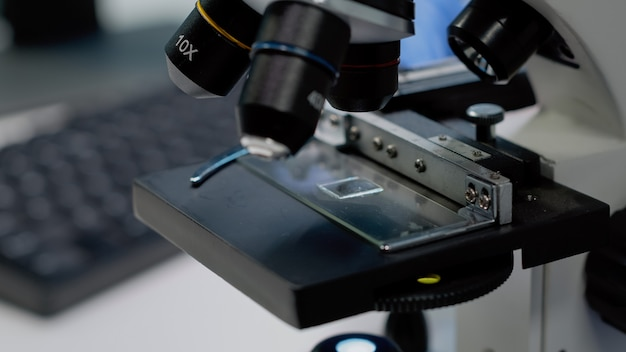Close up of microscopic sample tray for optical analysis