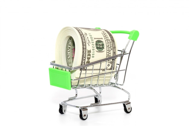 Close up of mini shopping cart with banknote on white background