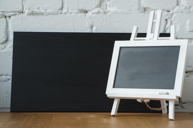 Close-up of a miniature chalk board
