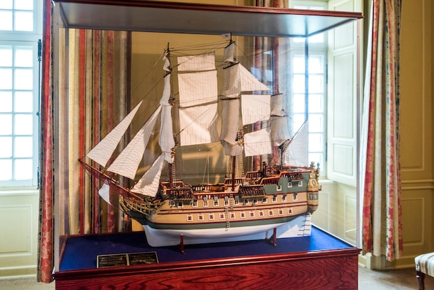 Close-up of miniature model of sailing ship, fortress of louisbourg, louisbourg, cape breton island,
