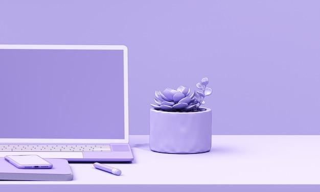 Close up minimal laptop on desktop render background