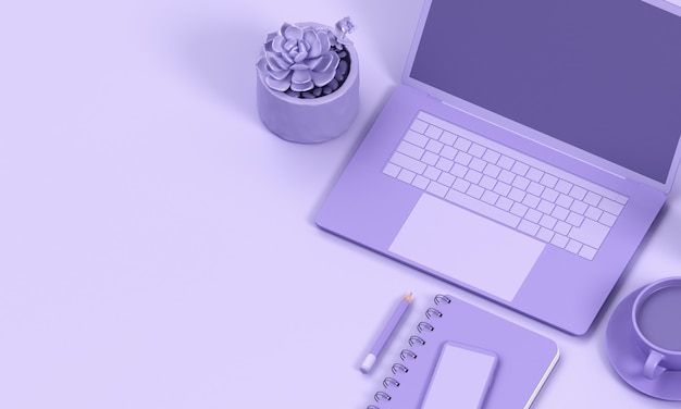 Close up minimal laptop render mono colour background