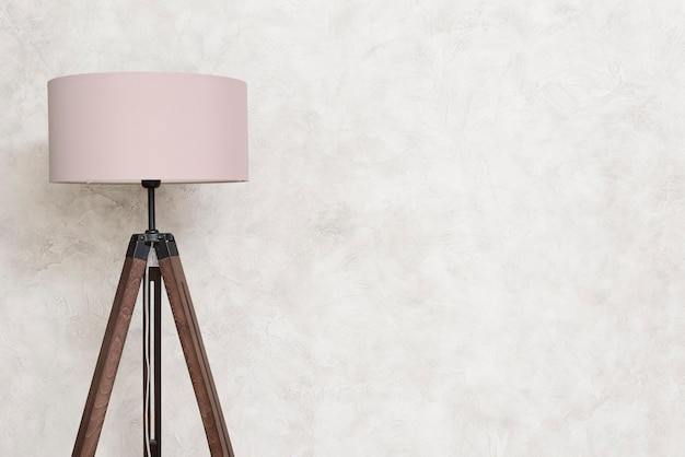 Close-up minimalist designer floor lamp