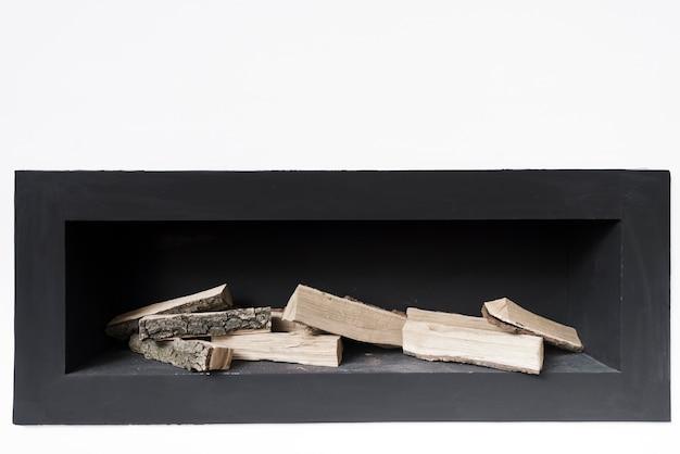 Close-up minimalist fireplace