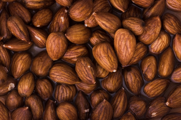 Close-up mix of nutritional almonds