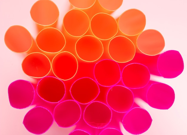 Close-up mixed color straws in close range