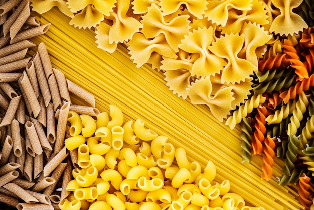 Close up of mixed of pasta