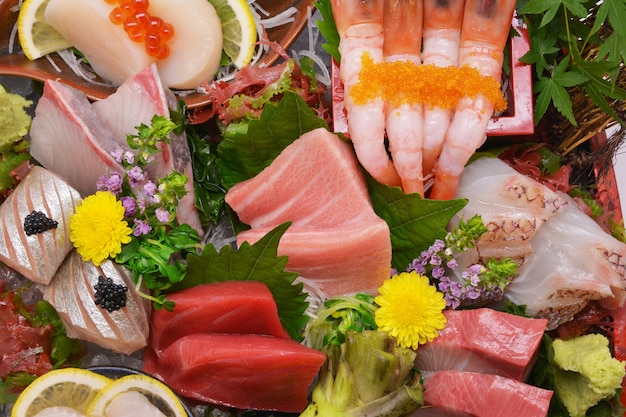 Close up mixed sashimi, japanese food