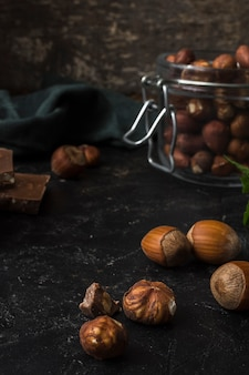 Close-up mixture of hazelnuts on the table